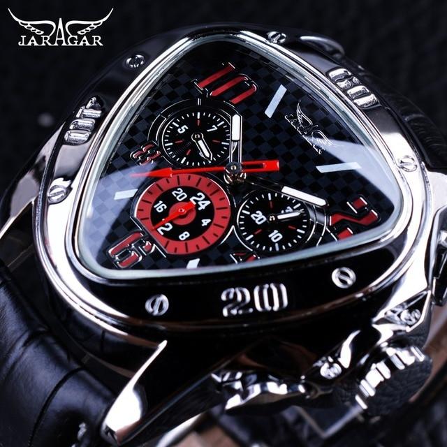 a506e0db8 Jaragar الرياضة سباق تصميم هندسية مثلث تصميم حزام جلد طبيعي للرجال ساعات  الأعلى العلامة التجارية الفاخرة