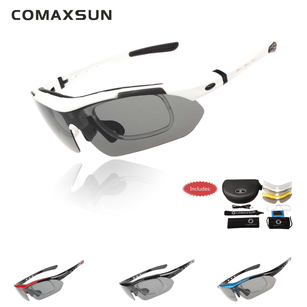 COMAXSUN Professionelle Polarisierte Radfahren Gläser Fahrrad Brille Outdoor-Sport Fahrrad Sonnenbrille UV 400 Mit 5 Objektiv TR90 5 farbe