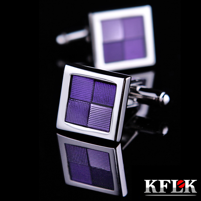 KFLK Jewelry shirt cufflinks married for mens Brand cuff buttons Purple cuff link High Quality gemelos abotoaduras Free Shipping
