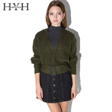 HYH HAOYIHUI 2017 Fashion Knitted Sweater Women Solid Army Green Loose Casual Belt Cardigans V-Neck Vintage Slim Short