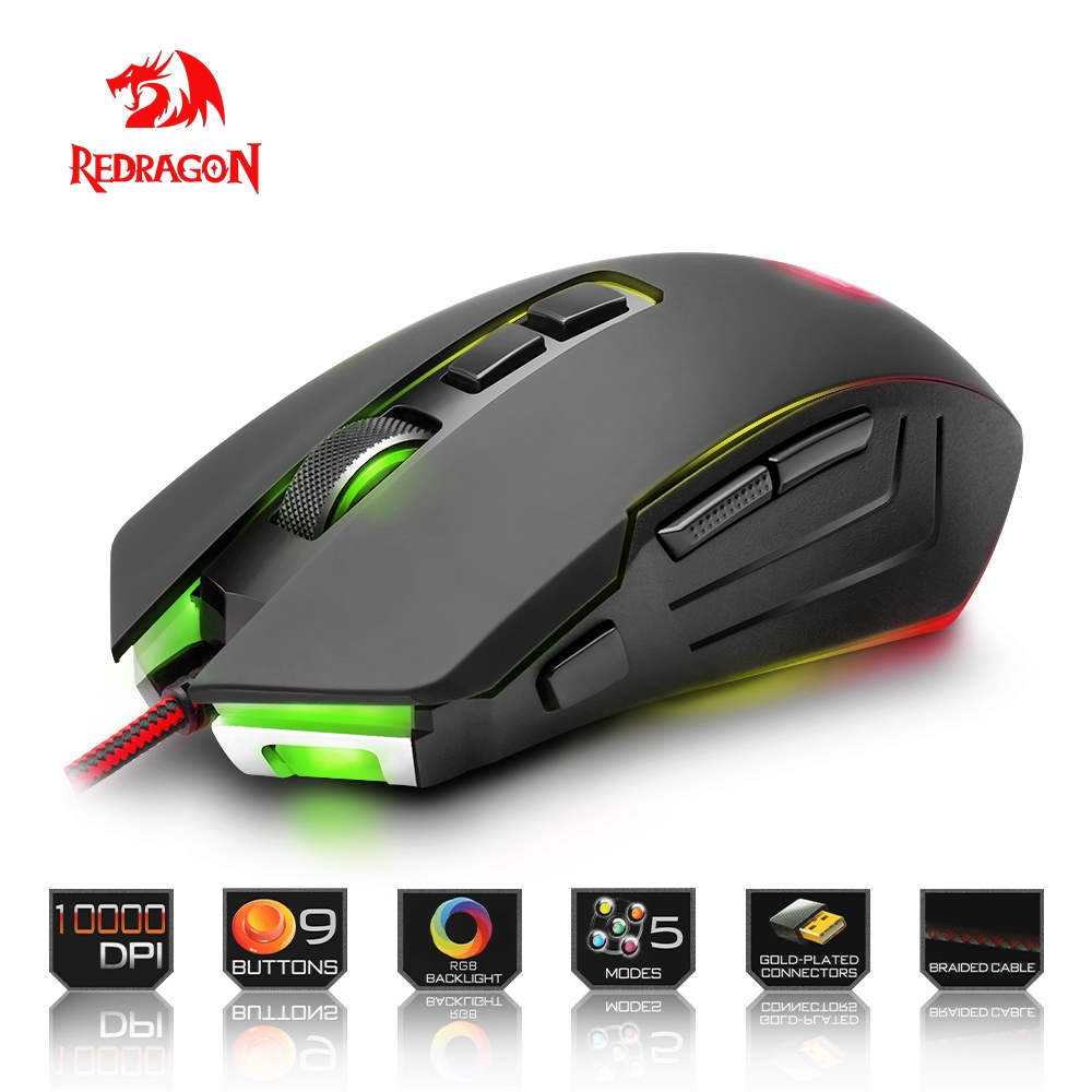 Redragon high quality Gaming Mouse PC 10000 DPI 9 programmable buttons ergonomic design USB Wired for Desktop mouse gaming usb wired mouse zelotes c 12 programmable buttons led optical usb gaming mouse mice 4000 dpi souris sans fil