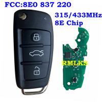 Keyless Entry System with Remote Key Fit For Audi A6L Q7 315MHz 433MHz With 8E Chip Uncut HU66 Blade 8E0 837 220