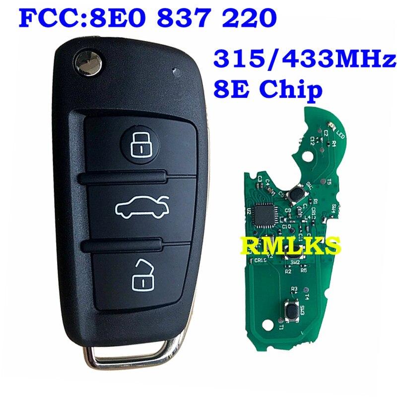 Système d'entrée sans clé avec clé à distance adapté pour Audi A6L Q7 315 MHz 433 MHz avec puce 8E lame HU66 non coupée 8E0 837 220