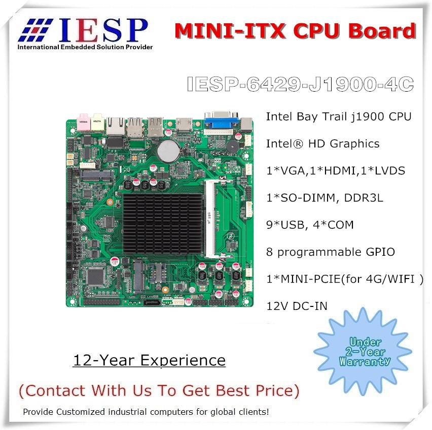 MINI-ITX moederbord, Bay Trail-D J1900, GLAN, 4 * RS232, 6 x USB2.0, VGA, HDMI, industrieel ingebed couboard