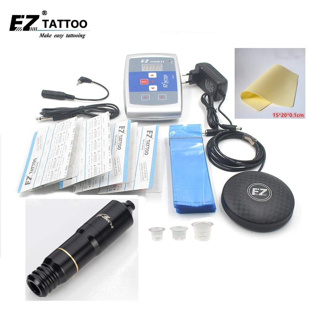 EZ Tattoo Kits Filter Swiss Maxon motor Pen Cartridge Tattoo Needles Foot Switch Power Supply Ink Cups for tattooist 1 set/lot black red yellow blue skull design stainless steel tattoo foot pedal switch footswitch power supply