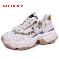 Chunky Sneakers Women Vulcanize Shoes Zip Golden Glitter Platform Sneakers 2019 Spring Casual Footwear Woman zapatos de mujer
