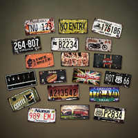 USA Vintage Metal Tin Signs American Car Number License Plate Plaque Poster Bar Club Cafe Wall Poster Wall Garage Home Decor