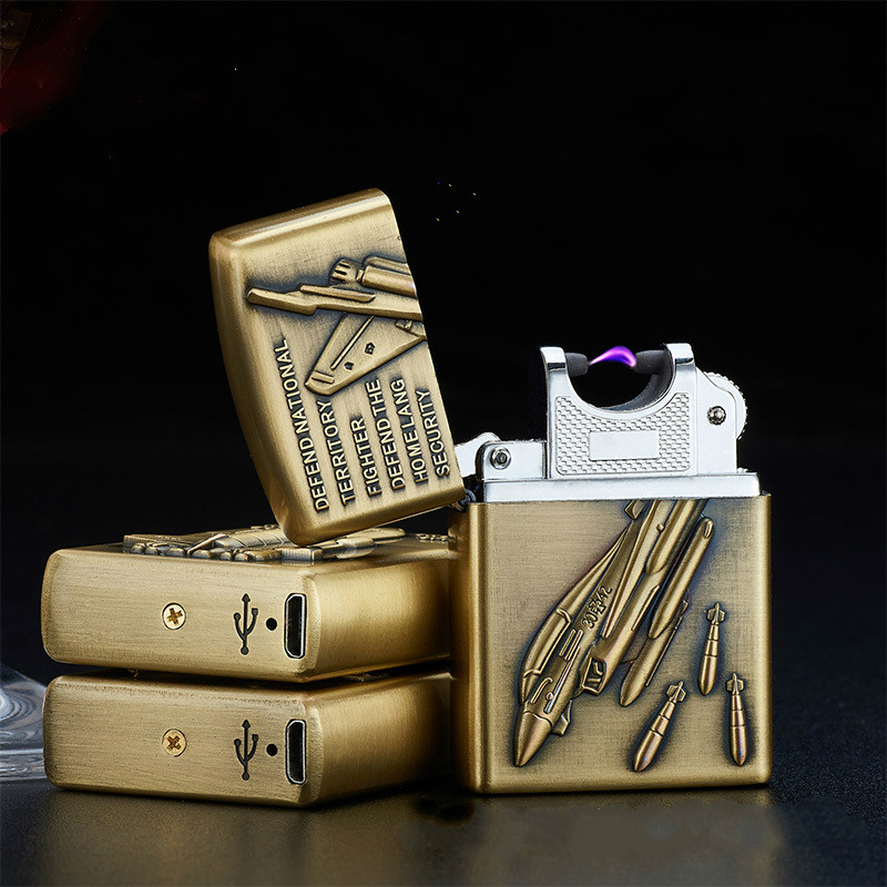 USB Electronic Pulse Charge Windproof Lighters Bronze Embossing Charging Arc Lighters Creative Metal Cigarette Lighter Man Gift