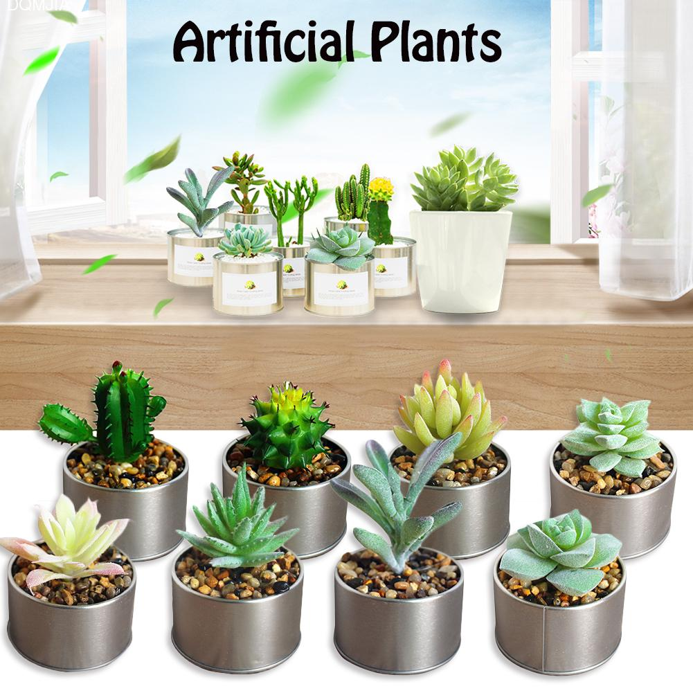 Novel Mini Artificial Succulent Plants With Flowerpot Fashion Plastic Artificial Plastic Garden Flowers Home Decor Accessories