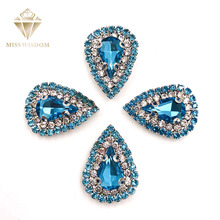 10pcs/pack Lake blue glass stass Double row chain Surrounding teardrop sew on rhinestones crystal buckle Diy jewelry accessories