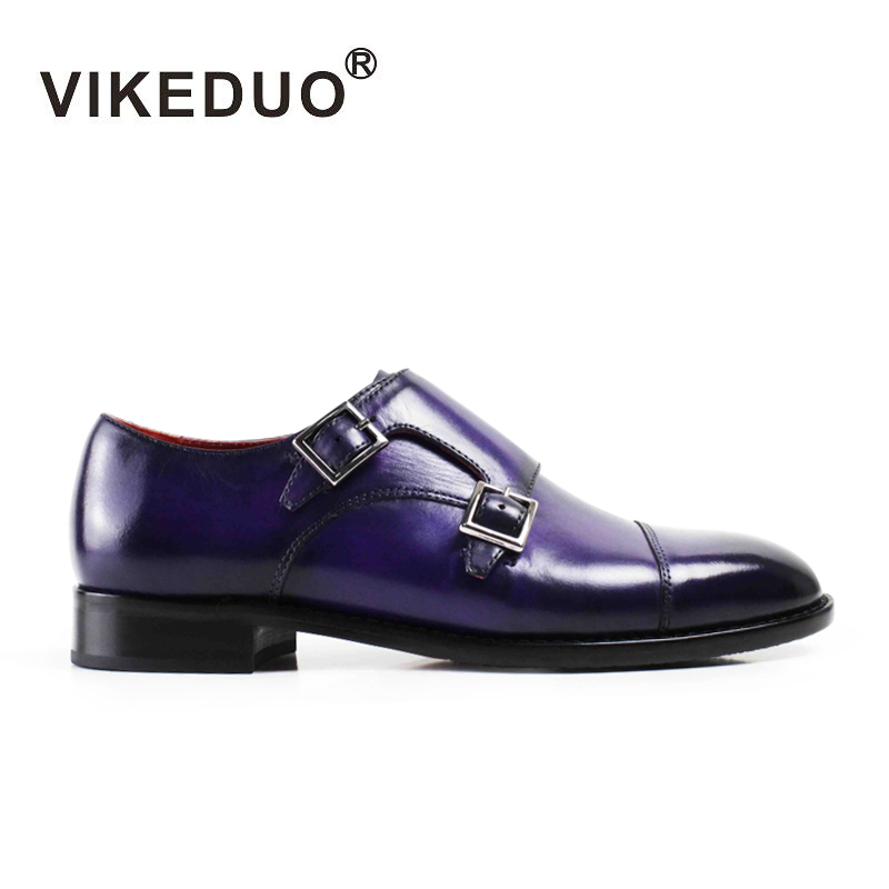 Vikeduo 2018 Fashion designer Vintage Handmade Women Monk Shoes High Grade Party Dress 100% Genuine Leather Double Buckle Shoes