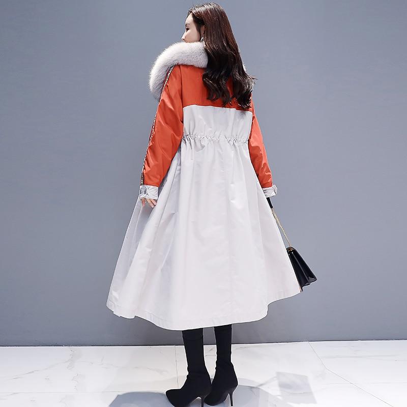Bleu orange Nouvelle Velours Co Femmes Rembourré Sur Coton De Longue 2018 Mot Coréenne Un Veste Version Plus La Genou Section Manteau D'hiver w1RXqHwF