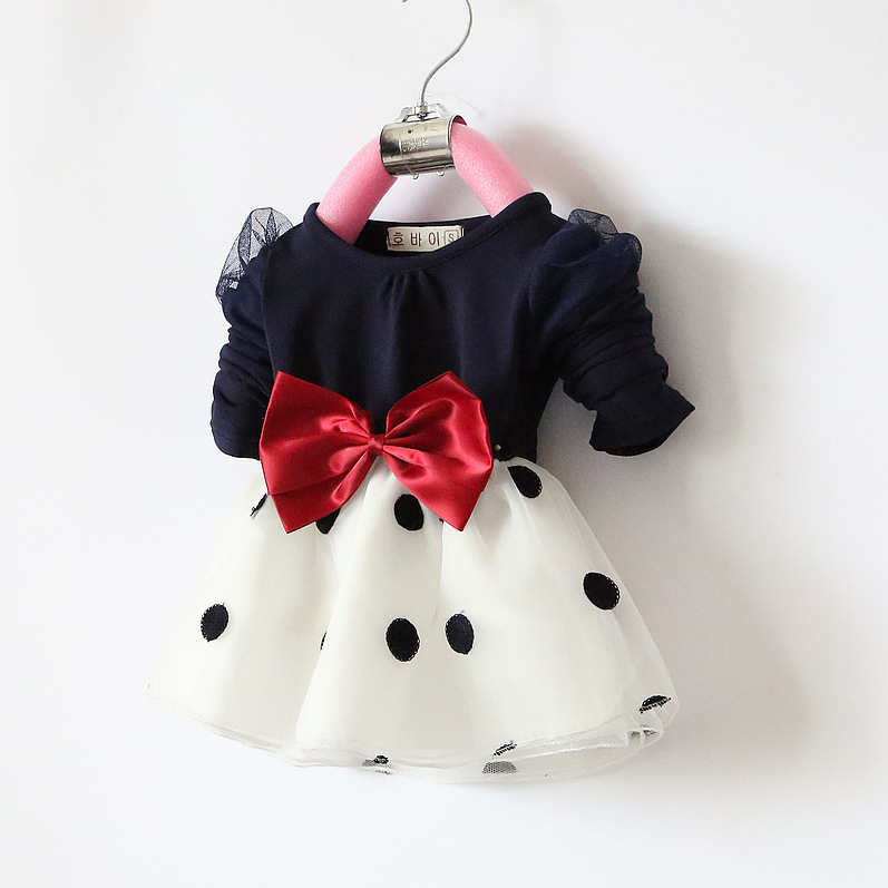 Treasure Korean newborn baby girls delicate kids organza bow child dot princess dresses children's clothing wholesale retail