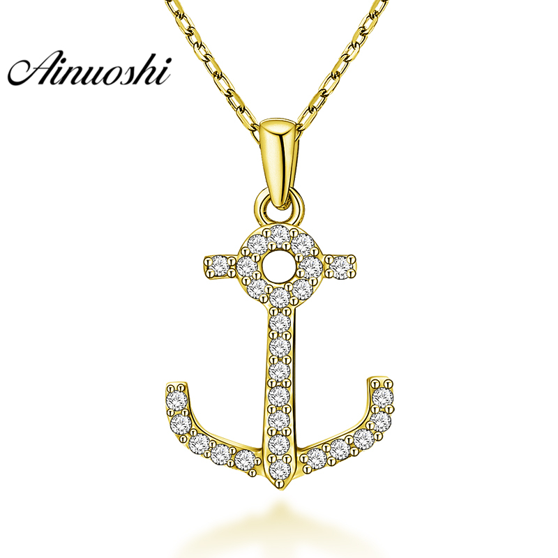 AINUOSHI 10K Solid Yellow Gold Pendant Halberd Design SONA Diamond Women Men Gold Jewelry Delicate Tool Design Separate PendantAINUOSHI 10K Solid Yellow Gold Pendant Halberd Design SONA Diamond Women Men Gold Jewelry Delicate Tool Design Separate Pendant