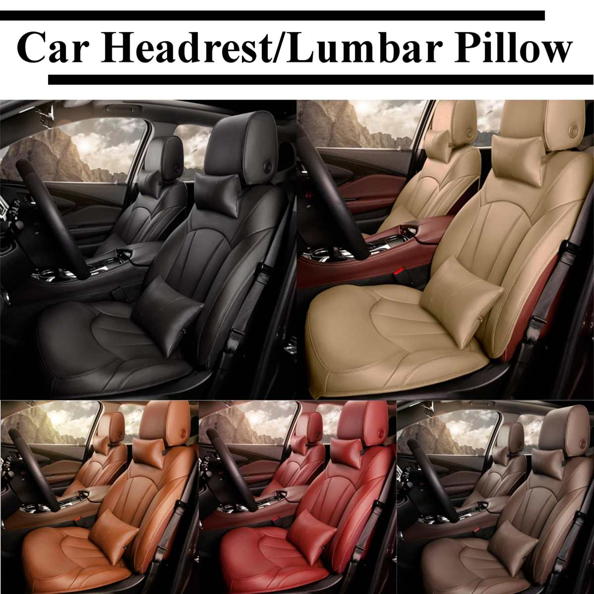 Soft Leather Car Neck Back Seat Pillow Lumbar Support Massager Waist Cushion Pillow For Chairs Seat Relieve Pain luxury Sponge