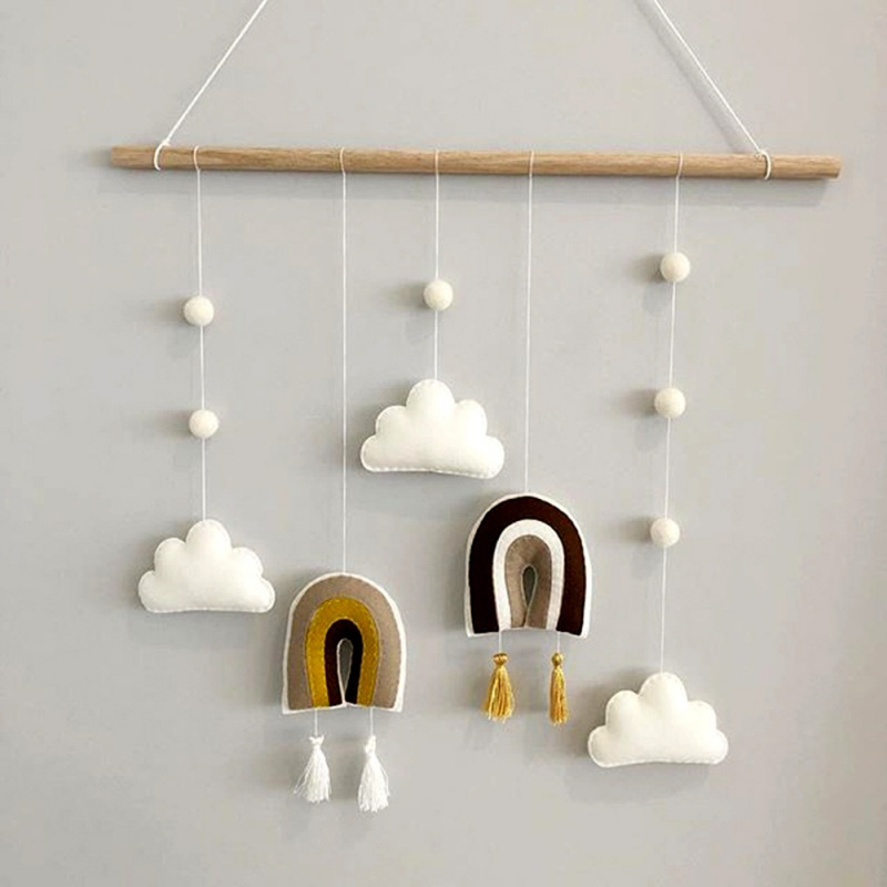 Nordic Style Cute Felt Clouds Shape Wall Hanging Ornament Wooden Stick Tassel Pendant Kids Room Decoration Photography Props