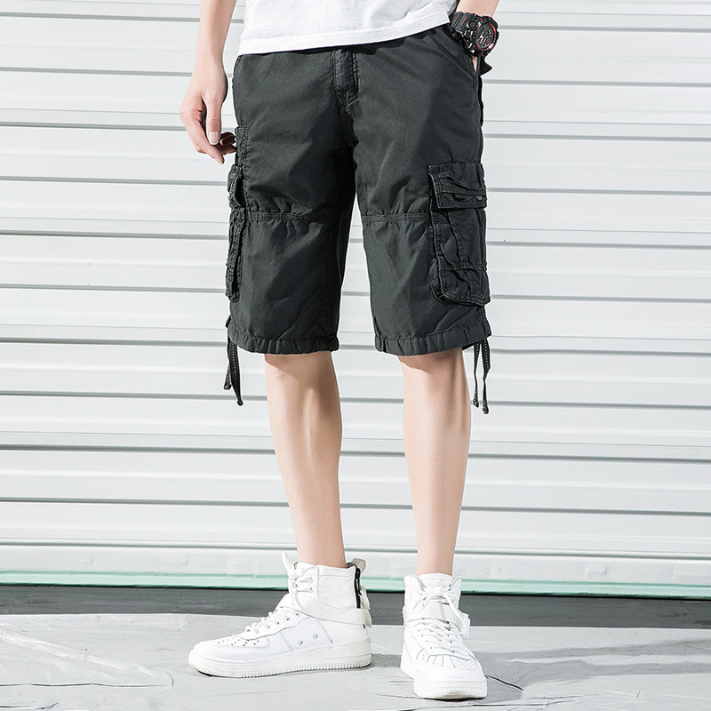 Mens Cargo Shorts Multicolor Loose Casual Short Pants Male Work Travel Dating Jogging Compression Distressed Mid-waist Shorts