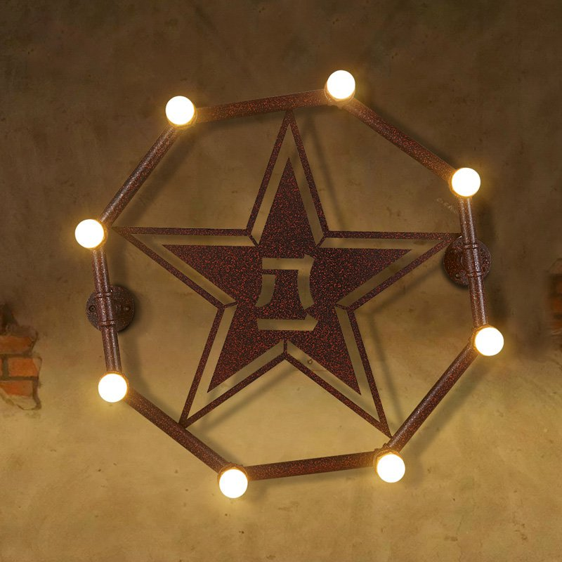 Octangle Metal Tube 3D Star Bar Counter Wall Light Rust Metal Pentacle American Country Rustic Balcony Industrial Wall Lamp