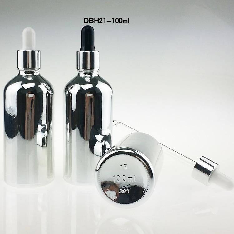 100 STKS 100 ml zilveren glazen druppelflesje, 100 ml druppelflesjes - Huidverzorgingstools - Foto 1