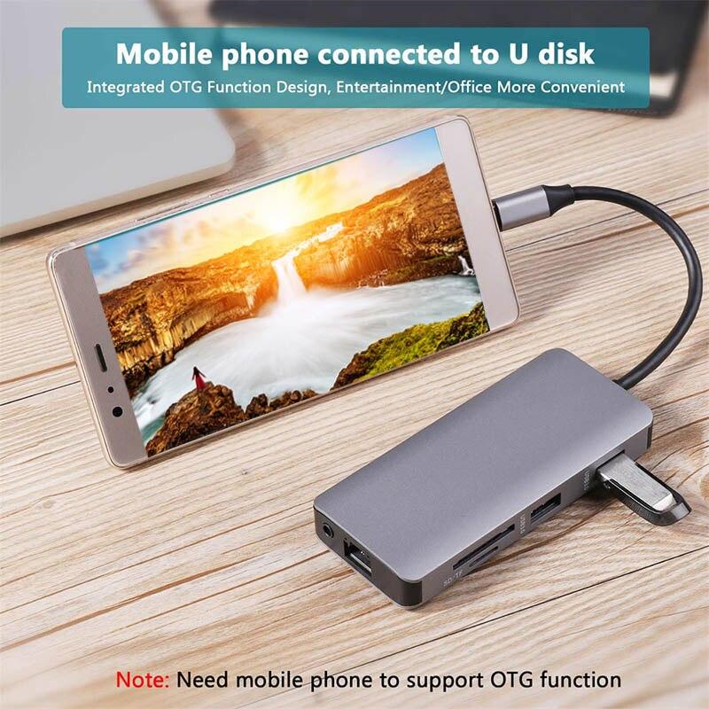 9 In 1 Type C Hub Adapter USB C to HDMI 2 USB3.0 Micro SD/TF Card Reader with PD JLRJ889 In 1 Type C Hub Adapter USB C to HDMI 2 USB3.0 Micro SD/TF Card Reader with PD JLRJ88