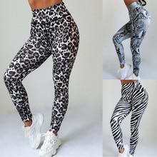 Женские леггинсы для фитнеса с высокой талией, обтягивающие спортивные штаны, сексуальные леггинсы с принтом зебры, змеи, леопарда, кожи животных, для тренировок, для спортзала, пуш ап