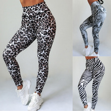Women Fitness Leggings High Waist Slim Sports Pants Sexy Zebra Snake Leopard Animal Skin Print Workout Gym Leggings  Push Up snake skin ripped leggings
