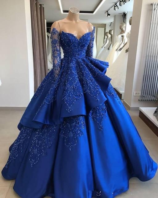 2020 Royal Blue Quinceanera Dresses Vintage Ball Gown Off Shoulder Long Sleeves Bead Sequined Vestidos De 15 Anos Layer Elegant