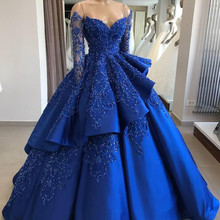 Ball-Gown Quinceanera-Dresses Sequined Anos Long-Sleeves Royal-Blue Vintage Off-Shoulder