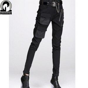 Image 3 - แฟชั่นผู้หญิงยุโรปสไตล์Haremกางเกงกางเกงดินสอสีดำ100% คุณภาพสูงยืดหยุ่นเอวยืดวัสดุ2020
