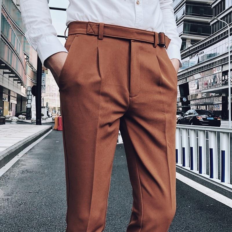 2018 Male High-grade Solid Color Mens Brown Trousers Slim Fit Business Suit Pants Men's  Suit Trousers Pantalon Homme Costume