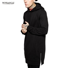 MORUANCLE New Spring Mens Extended Hip Hop Hoodies Fashion Streetwear Oversized Sweatshirts Pullover Longline Hoody Side Zipper