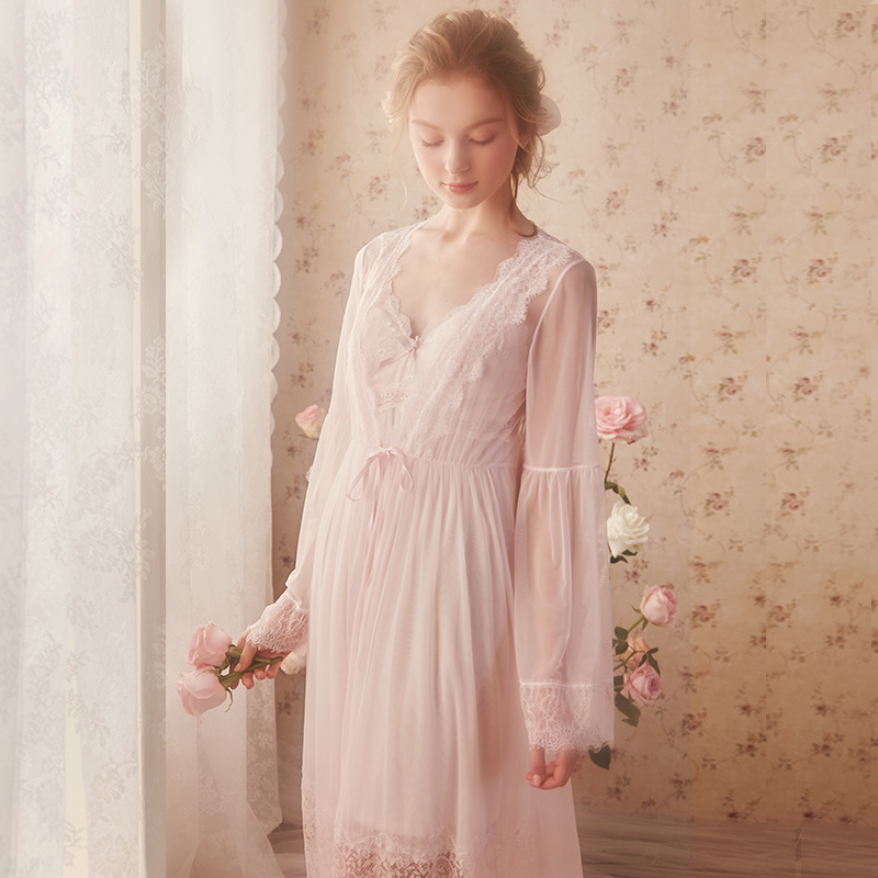 Lace Robe Woman Robe Bride Bridesmaid Dressing Gown Long Sexy Bathrobe Pink White - 4