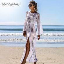 WildPinky 2019 Hollow Out Crochet White Beach Dress Women Tunic Long Pareos Bikinis Cover ups Swim Split Robe Plage Beachwear