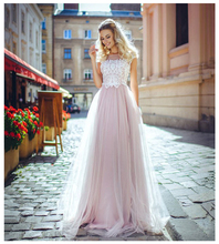SoDgine  Pink Bridal Dress 2019 Lace Top Wedding Dresses Romantic Vestido de noiva Floor Length gown