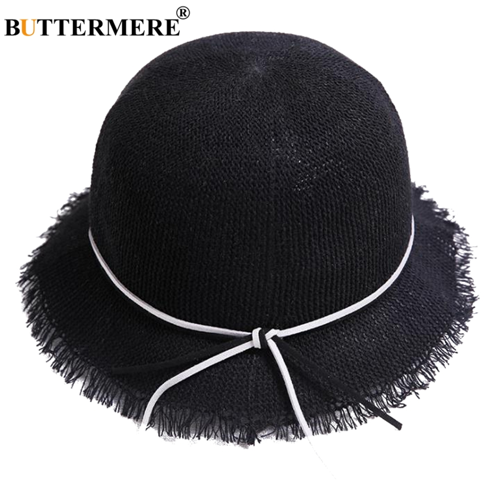 BUTTERMERE Bucket Hat Child Black Casual Summer Bob Fishing Hats For Girl Cute Uv Solid Foldable Kids Beach Sun Cap New Fashion