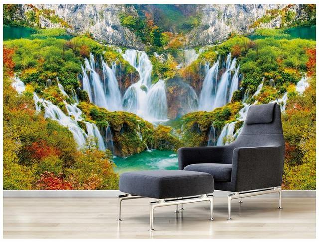 High End Custom 3d Wallpaper Murals Beautiful Scenery Waterfall Waterfalls 3D Fresco Landscape Background Wall Home