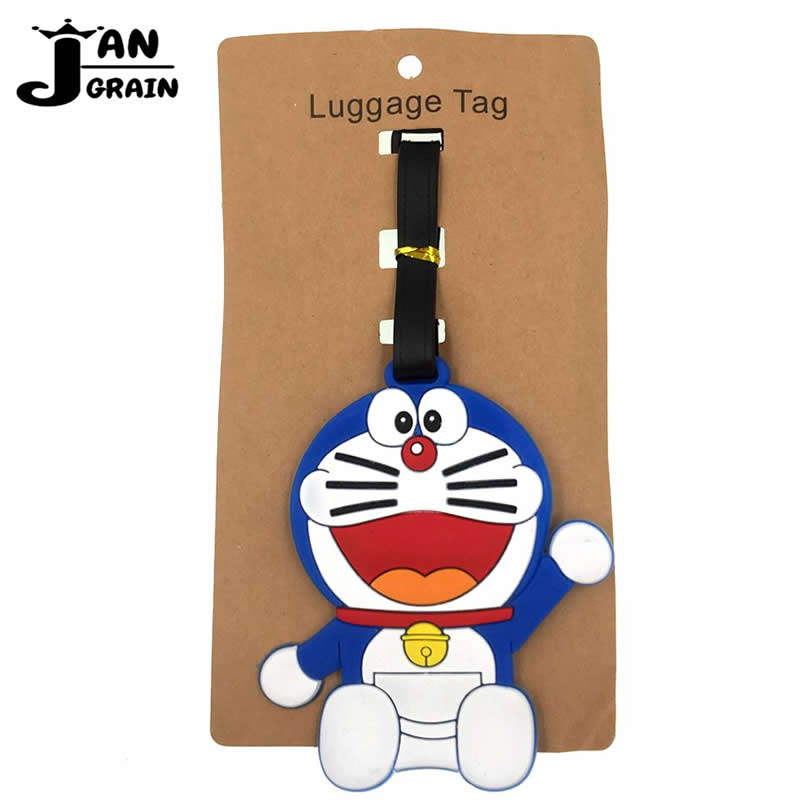 Cartoon Doraemon Luggage Tag Travel Accessories Silica Gel Suitcase ID Address Holder Cute Baggage Boarding Tag Portable Label
