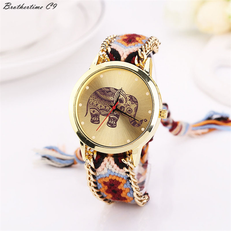 Brothertime C9 New Arrival Women Elephant Pattern Weaved Rope Band Bracelet Quartz Dial Wrist Watch #-090 Free Shipping