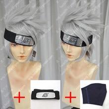 Аниме Наруто Хатаке Какаши Короткие слоистые серебристо-серые термостойкие волосы косплей костюм парик+ повязка на голову+ маска