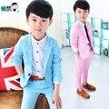 Muchachos de los niños Azul Blazers Trajes para Bodas Niños 2-10y Niños Ropa de Fiesta de Algodón Traje de Moda prendas de Vestir Exteriores Chaquetas para Niños B045