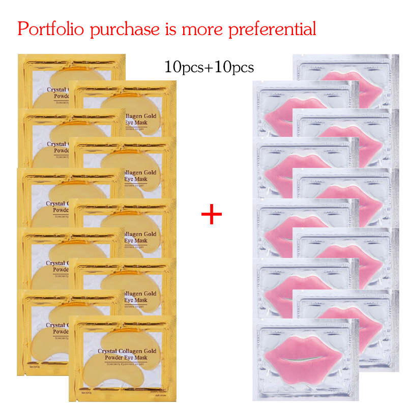 10 Pairs Collagen Gold Eye Mask Anti Dark Circles Wrinkle Eye Care And 10pcs Collagen Moisturing Nourishing Lip Mask Combination