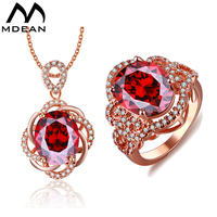 18K Rose Gold Plated Ruby Wedding Jewelry Sets Red Stone AAA Zircon Engagement Rings Pendant Fashion
