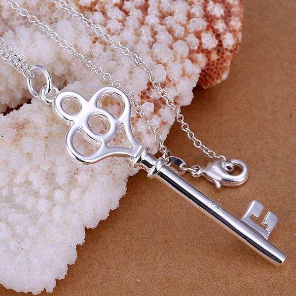 P064 livraison gratuite collier plaqué argent, 925 bijoux en argent de mode quatre clés rondes/CDNJKSOM CDNJKSOM