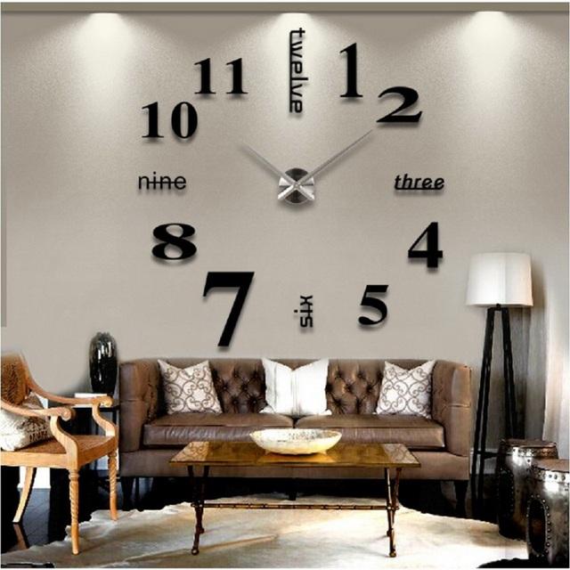 Big Wall Clock Rushed 3D Acrylic Mirror Sticker Diy Living Room Decor