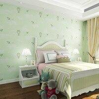 beibehang Children's room wallpaper cute cartoon hot air balloon green paper plane blue sky clouds bedroom non woven wallpaper