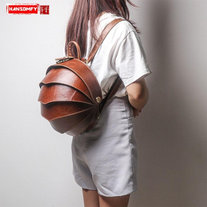 Handmade original genuine leather shoulder bag men and women fashion personality beetle bag retro trend creative