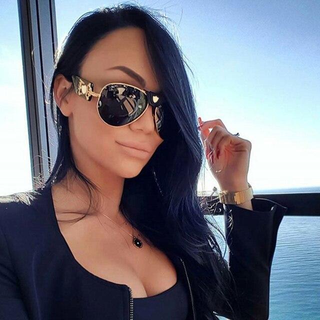 New модные солнцезащитные очки металл кожа рамка украшения luxury brand дизайнер женщины зеркало солнцезащитные очки мужчины uv400 оттенки