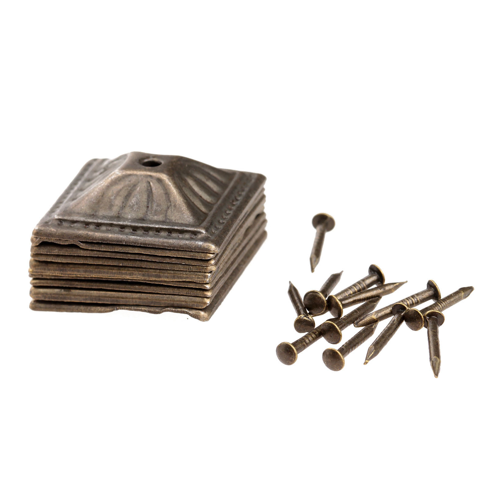 Купить с кэшбэком 50Pcs Antique Bronze Square Nailhead Upholstery Decorative Nails Tack Stud Jewelry Wooden Box Furniture Pushpin Doornail 21x21mm