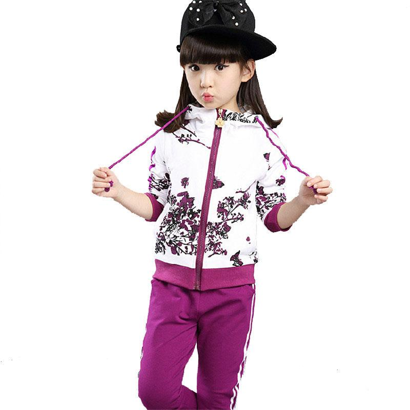Spring Autumn Girl Clothes S Casual Flower Children Tracksuits for Girls Hooded Jackets Long Pants 2pcs Kids Sport Wear