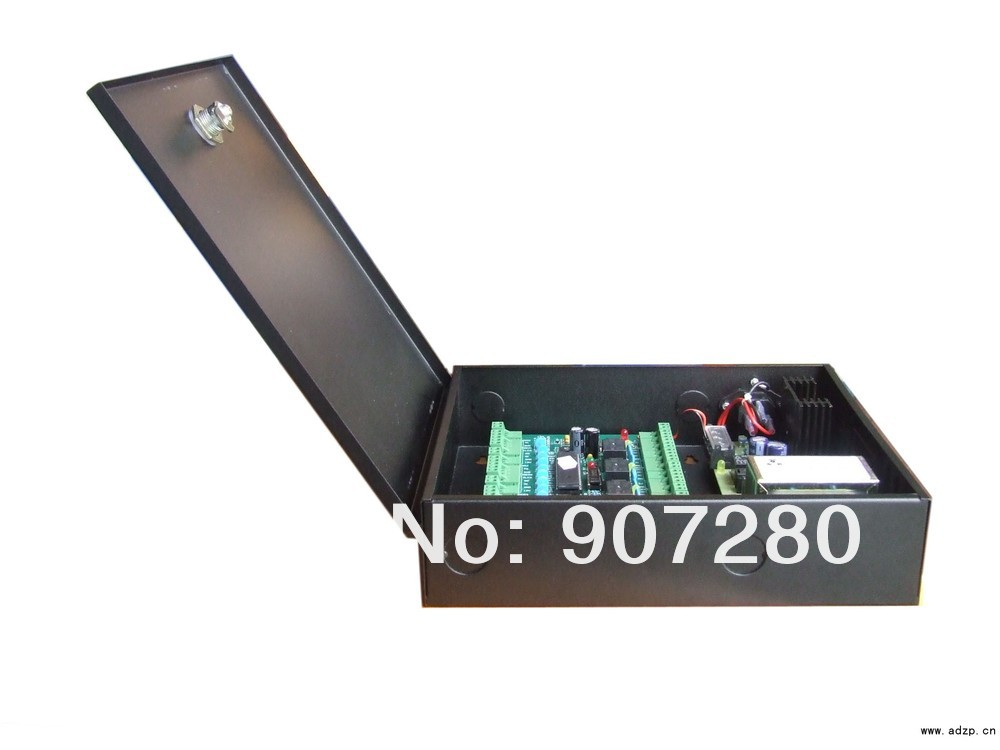 Wholesale 32bit CPU TCP/IP Four Door Single Way Access Control Panel + Power Supply Box wholesale 32bit cpu tcp ip double door two way access control panel power supply box